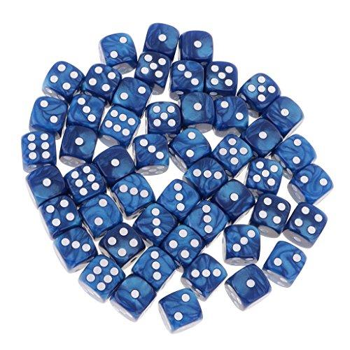 Sharplace 50er-Set Transparenter D6 Sechsseitig Würfel - Blau Farbige Sechs-seitige Würfel