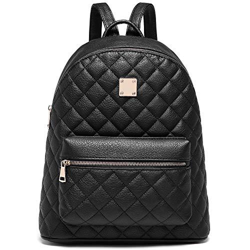 Zaino Donna, Myhozee Borsa Zaino Donna Pelle PU Zainetto impermeabile Casual Nero Zaini Casual Daypack Backpack per Scuola Viaggio Lavoro Shopping