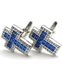 KONOV Herren Manschettenknöpfe, Klassiker Elegante Zirkonia Diamant Kreuz, Hochzeit, Hemd Manschetten Knöpfe, Blau Silber