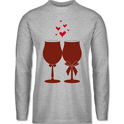 Shirtracer Symbole - Weingläser Wein - Herren Langarmshirt Grau Meliert
