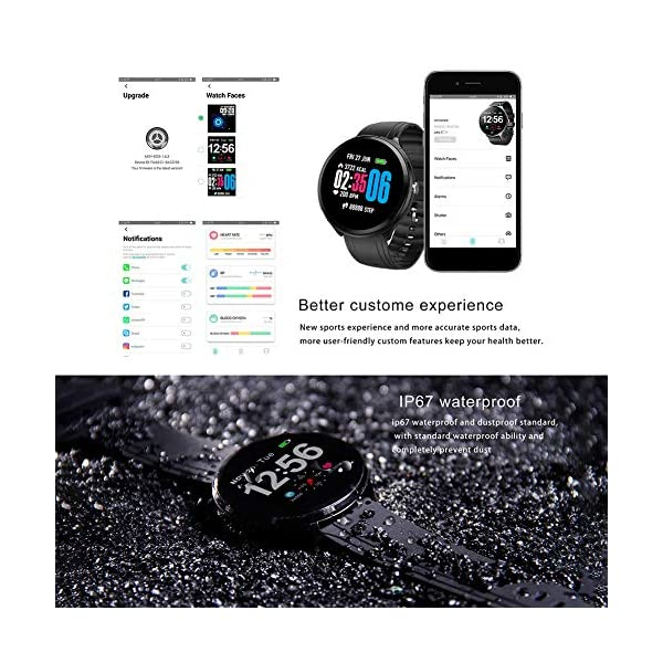 FUPOJW Waterproof IP67 Smart Watch Fitness Activity Tracker with Heart Rate Blood Pressure Monitor Calorie Smartwatch… 5