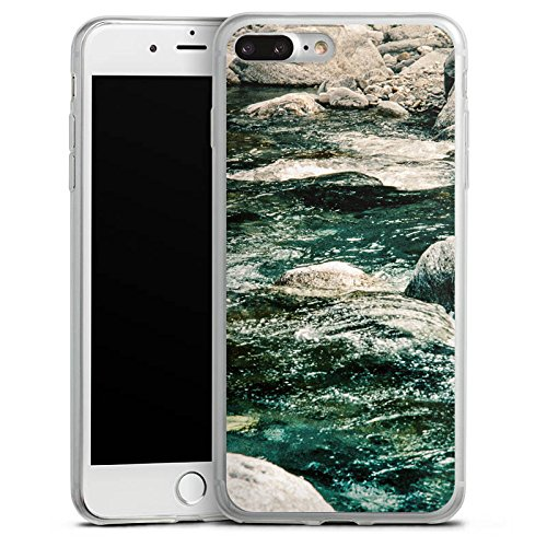 Apple iPhone 8 Plus Slim Case Silikon Hülle Schutzhülle Fluss Fels Steine Silikon Slim Case transparent