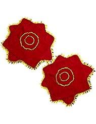 Honeysuck Mouchoir de danse en velours rouge avec ourlet Doré Feuilles