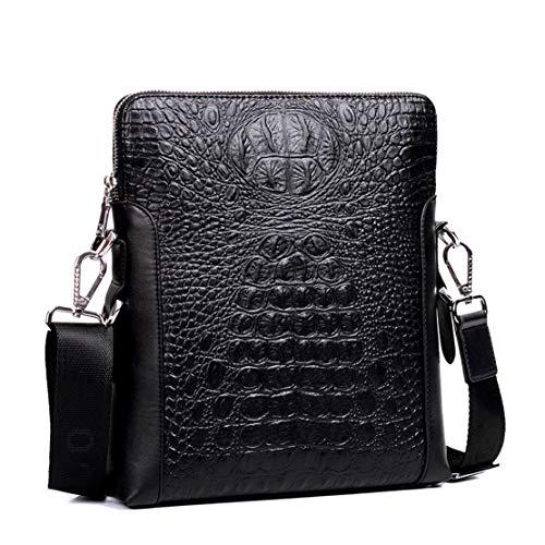 Menran Business Work Umhängetasche Leder Aktentasche Groß Handtasche Herren Shoulder Bags Mode Kroko Schultertasche (Schwarz) - Schwarze Kroko-handtasche