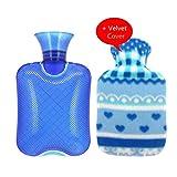 Transparente Gummi-Heißwasser-Flasche Hot Water Bag 500ml mit Samt-Abdeckung-Eisbeutel (Blue)