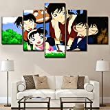haochenli188 Leinwand Gemälde Home Dekorative Kunstwerke Rahmen Wandkunst 5 Stücke Anime Detektiv Conan Bilder Hd Drucke Modulare Poster-Rahmen