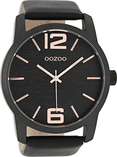 Oozoo Herrenuhr mit Lederband 48 MM Black/Schwarz/Schwarz C9089