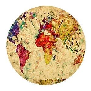iFUOFF intage Retro estilo mapa del mundo customized Round ratón 7. 8«x7. 8» Inch