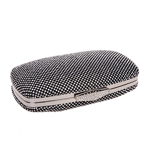 Bonjanvye Studded Rhinestone Evening Clutch Bag with Handle for Women AB Silver Black