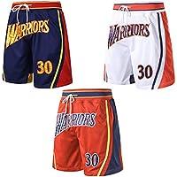REDLIFE Golden State Warriors Steph Curry 30# Pantalones Cortos De Baloncesto, Pantalones Cortos De Gimnasia Sueltos De Malla Bordada-Orange-XL