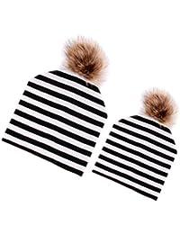 non-brand Sharplace 2Pcs Madre Neonati Bambini Bambino Cappello Invernale  Caldo Cotone Bobble Ski Beanie 1bd2e40daae7