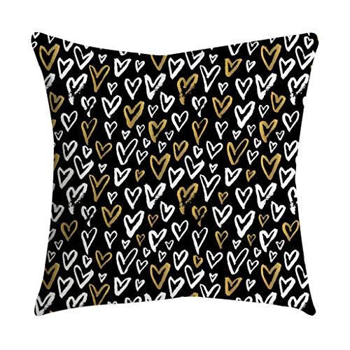 Qinpin Kissenbezüge, Rosen-Schwarz/Gold, quadratischer Kissenbezug für Zuhause, Polyester, K, 45cm * 45cm / 18 * 18