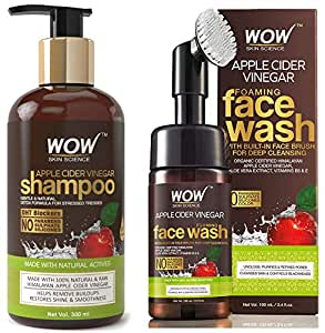 WOW Apple Cider Vinegar No Parabens & Sulphate Shampoo, 300mL And WOW Organic Apple Cider Vinegar Foaming Face Wash with Built-In Brush - No Parabens, Sulphate and Silicones, 100 ml