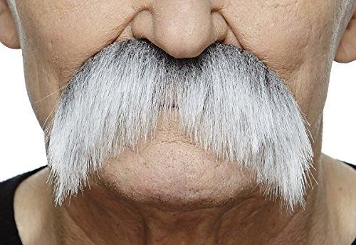 Mustaches Selbstklebende Fälscher Schnurrbart Neuheit Walrus Falsch Gesichtsbehaarung Kostümzubehör für Erwachsene Grau mit Weißer Farbe