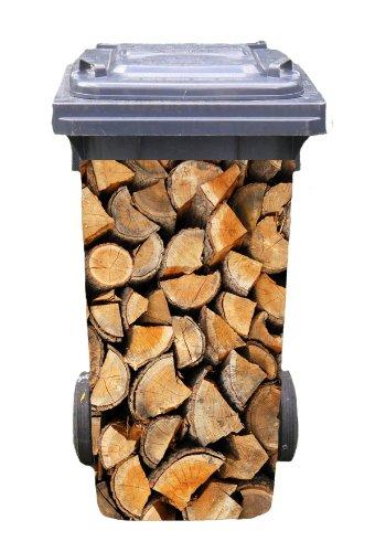 Mülltonnen-Aufkleber Motiv Brennholz 37 cm x 82 cm für 240 l Tonne Einzigartige Mülltonne