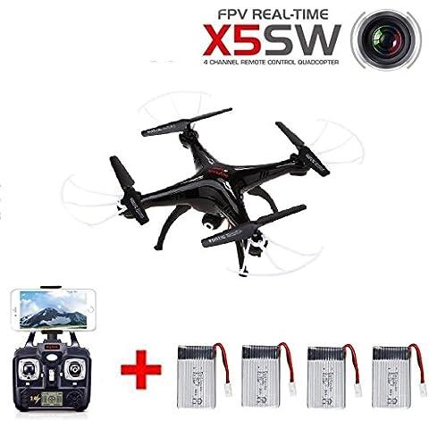 Showkoo Syma X5SW 6 Axis Gyro 4CH 2.4GHz RC FPV Quadcopter con baterías de 4pcs 1200mAh de capacidad extra enormes y 4 en 1 Cargador (Negro)