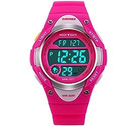ETOWS® Boys Girls Sport Digital Watch Waterproof Students Children''s Wrist Watch (Red rose)