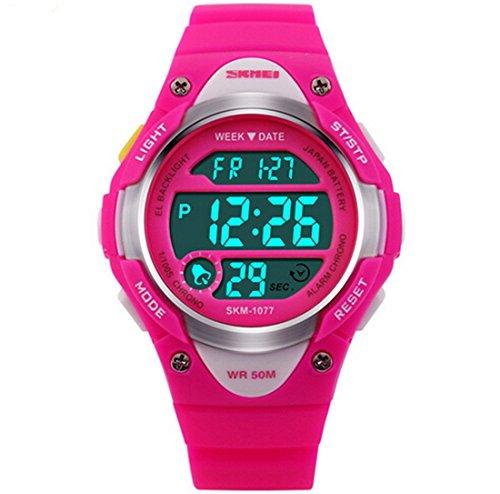 etows® Niños Niñas Reloj digital deportivo impermeable estudiantes niños 's reloj de pulsera (Rosa Roja)