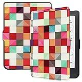 LingDan Schutzhülle für Kobo Klare HD (15,2 cm (6'') PU Leder Flip Cover Farbgitter Muster mit Magnetverschluss Funktion und Auto Aufwachen/Schlaf Funktion Hülle (Farbmalerei 05)