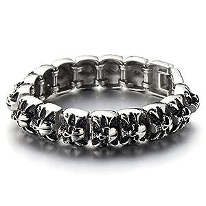 COOLSTEELANDBEYOND Große Schwere Schädel-Armband für Herren Edelstahl-Armband Silber Schwarz Zwei Töne Poliert