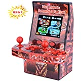 "Mini Arcade Portable Handheld Game Console Gaming Player Birthday Gift For Kids Built In 183 Classic Retro Double Play Games With 2.8"" LCD Big Screen (Red"