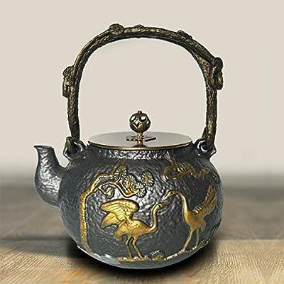 Théière en fonte bouilloire théière en fer non recouverte du sud du Japon pot en fonte à thé bouillie vieux pot en fer Kung Fu thé ensemble à la maison universelle 1.2L