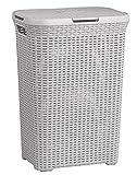 Curver Wäschebox 40L HELLGRAU Rattan Wäschekorb Wäschekörbe Wäschesammler