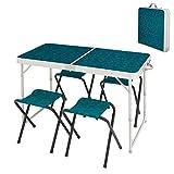 QIANGDA Tisch Klappbar Campingtische Mit Tragbaren Stühlen Set Multifunktion Schweres Picknick Angelreisen Für 4-6 Personen- Gefaltet: 60 cm X 60 cm X 10,5 cm