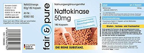 Nattokinase 50mg, 2000 FU per daily intake, vegan, without magnesium stearate, 180 nattokinase capsules
