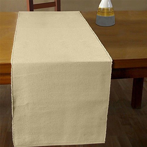 Homescapes Chemin de table de LUXE (45 x 180cm). Pur coton ULTRA DOUX. Couleur CREME