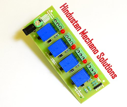 Hindustan Mechano Solutions 12V 4 Channel Relay Module Board(HIGH QUALITY) For Arduino PIC AVR DSP ARM.  available at amazon for Rs.270
