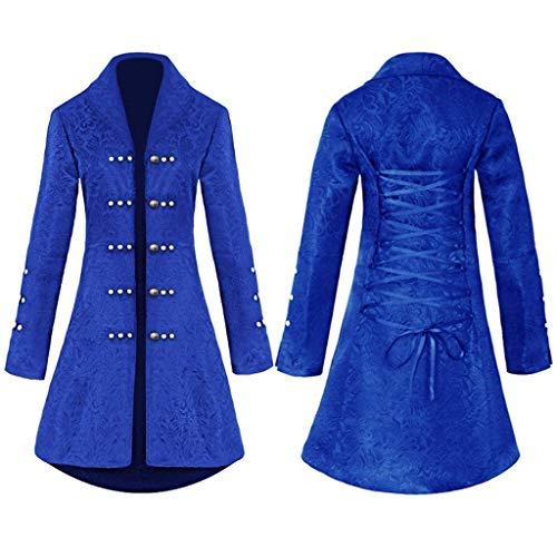Riou Punk Jacke Damen Steampunk Gothic Vintage Party Cosplay Kostüm Blazer Mittellang Knöpfe Mantel