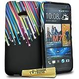 Accessory Master - Carcasa de silicona para HTC One M7, diseño de estrellas fugaces, multicolor