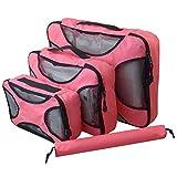 Ting-Times Organizer Set 3 Sistema di cubi di imballaggio per Organizer per Bagagli da Viaggio con Borsa per Lavanderia (Stile 3, Rosa)