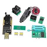 Kit de programmateur USB EPROM Flash BIOS avec Ch341A + Clip Soic8 + Adaptateur 1,8 V + Adaptateur Soic8 Compatible avec Flash 24 Série 25 comme sur l'image