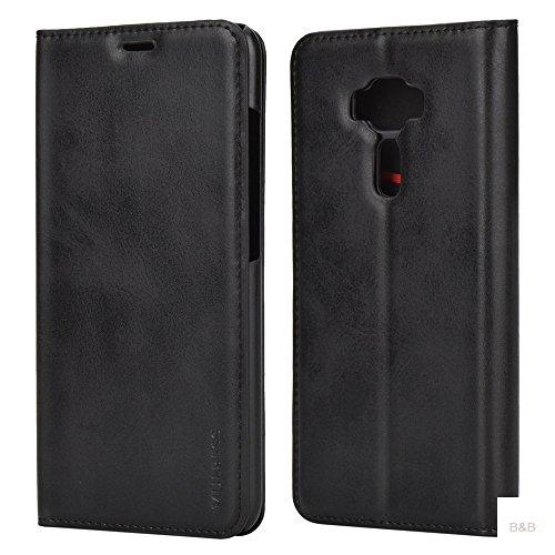 Mulbess (Slim Style) Premium Handy Schutzhülle Ledertasche im Kartenfach für ASUS ZenFone 3 ZE520KL 5.2 Tasche Hülle Leder Etui Schale,Schwarz