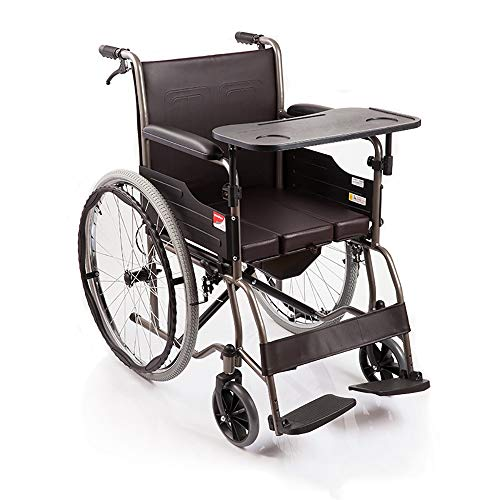 ZPWSNH Rollstuhl Tragbar Mit Toilette Manuell Ältere Menschen Behinderte Reisen Rollstuhl Leicht Faltbar Transport Reisen Selbstfahrende Gehhilfe Gehhilfen