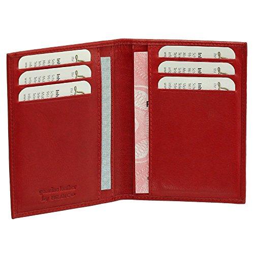 Preisvergleich Produktbild Luxus Leder Ausweisetui Ausweishülle Basic Dokumentenmappe Ausweismappe Ideal fürs Auto Farbe rot