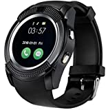 YGS Bluetooth smartwatch / Wrist Watch (V8 Black) with Sim Card Support for High Quality Calling | Facebook and WhatsApp | Touch Screen | Multilanguage | Activity Trackers | Fitness Band Features | Video Recording | Phone Book | Smartwatch Phone with Camera TF SIM Card Slot | Compatible with 2G 3G 4G Android Mobile Phones & IOS phones.
