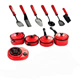 #9: Wonder Star Presents Red & Black Advanced Chef Kitchen 11 Pcs Ware Set for Kids