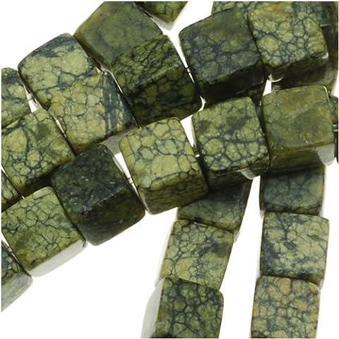 Serpentine Russian Jade Cube Beads 4 x 4mm - 15.5 Inch Strand
