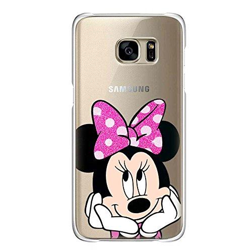 IP6 6S Couverture Coque TPU transparent GEL étui de protection scintillement, Glitter collection spéciale de paillettes, Disney Mickey Mouse, iPhone 6 6S Minnie Fluo