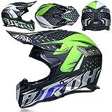 ZHANG-TK Motorrad-Integralhelm, Motocross-Helm (einschließlich Helm, Schutzbrille, Gesichtsmaske, Langlaufhandschuhe, Insgesamt Vier Sätze) (Color : 3, Size : L59~60CM)