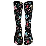 UFHRREEUR Men and Women Retro Roller Derby with Flamingo and Cat Running Socks Sports Socks