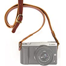MegaGear correa de cuero hecha a mano - acolchado de confort, seguridad para todas las cámaras (Marrón)