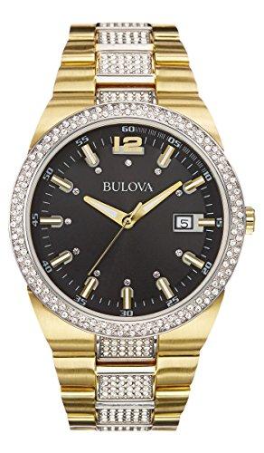 Neuf Bulova 98b235Doré Cadran noir avec accents de cristal montre 50m pour homme
