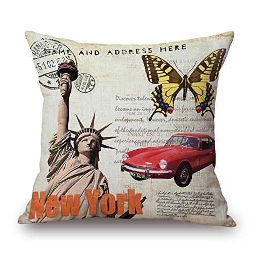 Vintage Rétro célèbre Architecture Couvre-lit décoratif Taie d'oreiller Housse de coussin en coton et lin Taie d'oreiller 45,7x 45,7cm en toile de jute 45x 45cm, Statue of Liberty with Butterfly, 18x18inch