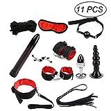 LUOEM 11 pezzi sotto il letto Restrizioni Kit Cosplay flirt Set con manette Vibratore Plug per uomini e donne (rosso)