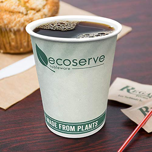 Disposable Paper Coffee Tea Hot Drinking Cups compostable and Biodegradable Cups 8oz - 228ml (100 Pack)