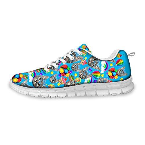 Herren Laufschuhe Turnschuhe Straßenlaufschuhe Schuhe Niedlich Katze Tier Druck Jungen Mode Sportschuhe Fitness Atmungsaktiv Sneakers Shoes Blau C036 EU 41